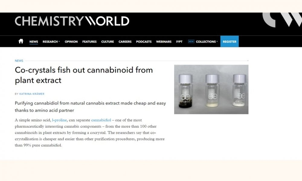 Enantia's cannabidiol cocrystal highlighted in Chemistry World