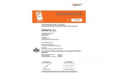 Renewal of Enantia's ISO 9001:2015 Certificate